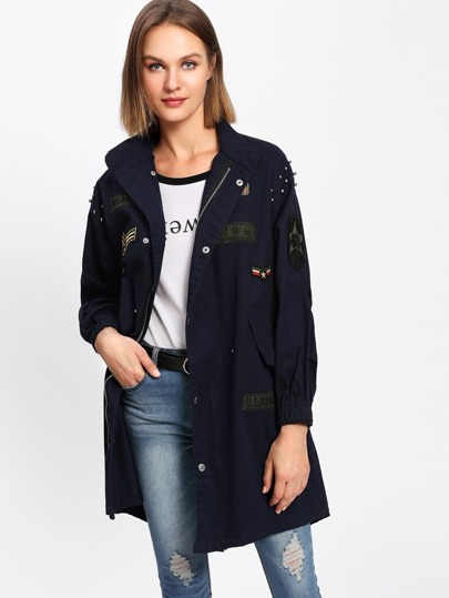 Beaded Patched Drawstring Waist Jacket