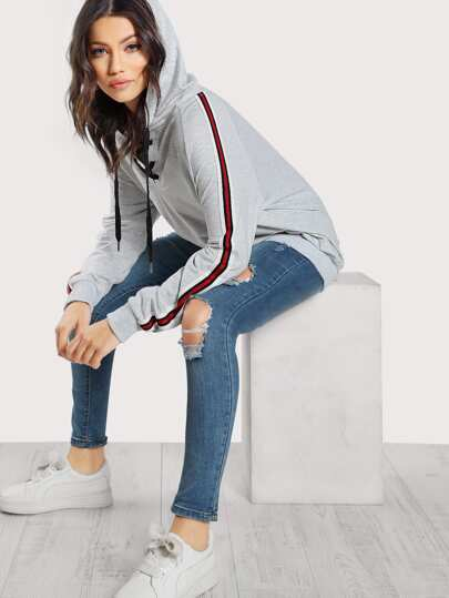 Lace Up Front Striped Sleeve Hoodie