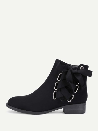 Lace Up Side Suede Ankle Boots