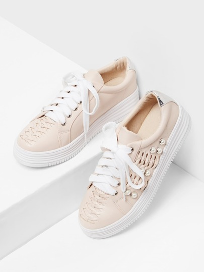Faux Pearl Detail Lace Up Sneakers