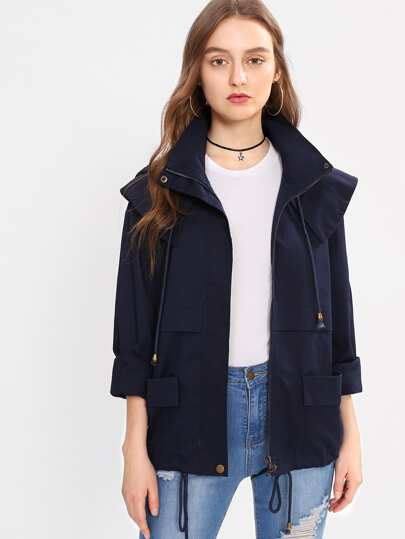 Pocket Patched Hoodie Jacket