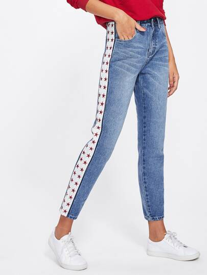 Star Embroidery Side Faded Wash Jeans
