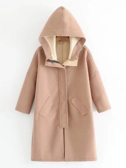 Seam Detail Hooded Wool Blend Coat
