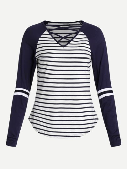 Varsity-Striped  Lattice Front Striped Tee