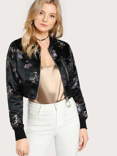 Satin Floral and Zipper Bomber Jacket BLACK