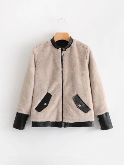 Contrast PU Trim Faux Fur Coat