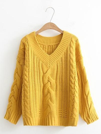 Pull col en V en tricot à câble avec la chute de l\'épaule