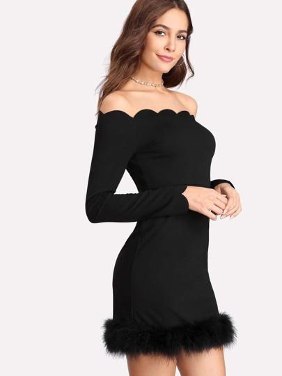 Scalloped Trim Faux Fur Hem Bardot Dress