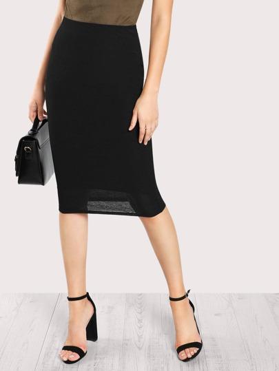 Falda entallada con cintura elástica