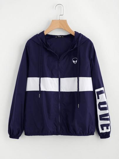Two Tone Printed Windbreaker Jacket