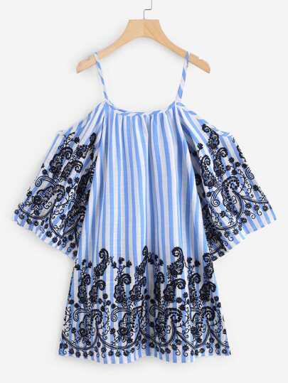 Fluted Sleeve Paisley Embroidered Striped Dress