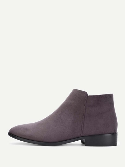 Side Zipper Suede Flat Boots