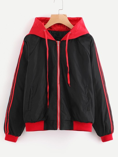 Contrast Stripe Side Drawstring Hooded Jacket