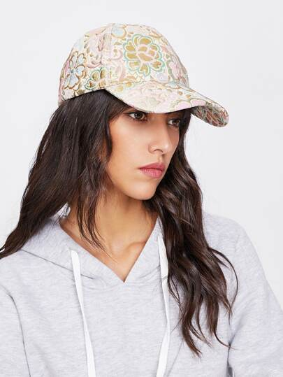 Gorra de béisbol con bordado de flor