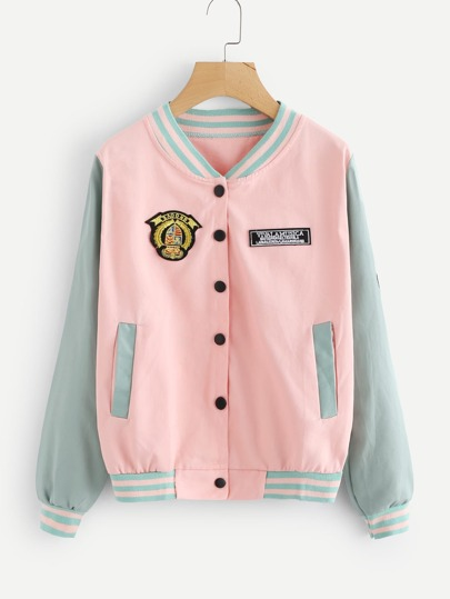Patched Striped Trim Jacket