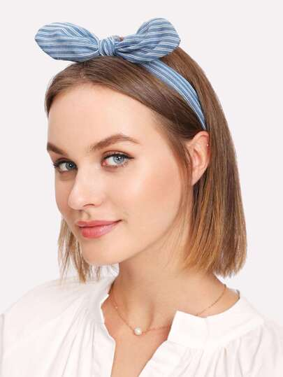 Striped Knot Ear Headband 2pcs