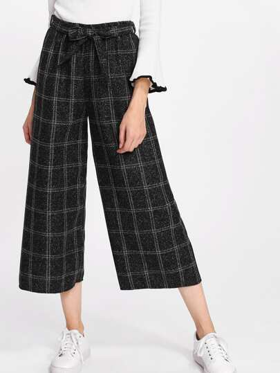Pantalones de cuadros con pernera ancha con cinturón