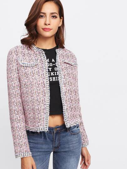Frayed Trim Open Front Tweed Blazer