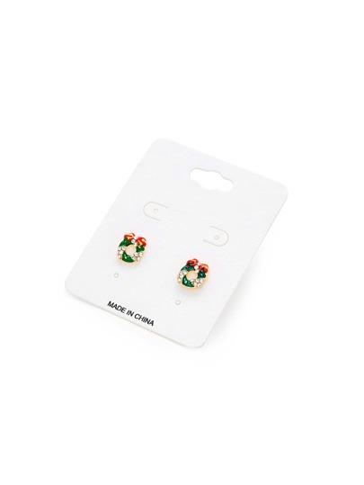 Boucles d'oreille de Noël design de nœud papillon & strass