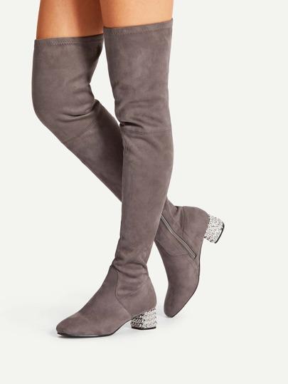 Side Zipper Block Heeled Suede Boots
