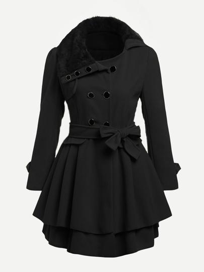 Manteau bord à étages col en fourrure fausse contrastée