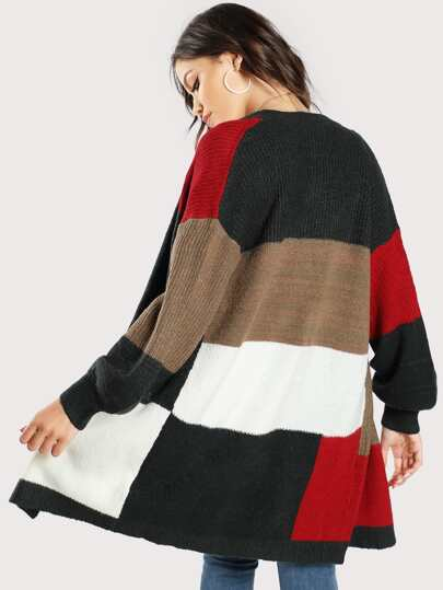 Open Front Pathework Long Sweater