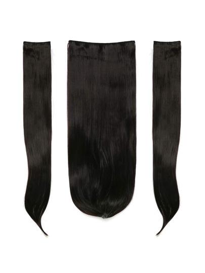3 piezas de extensión del pelo recto negro natural