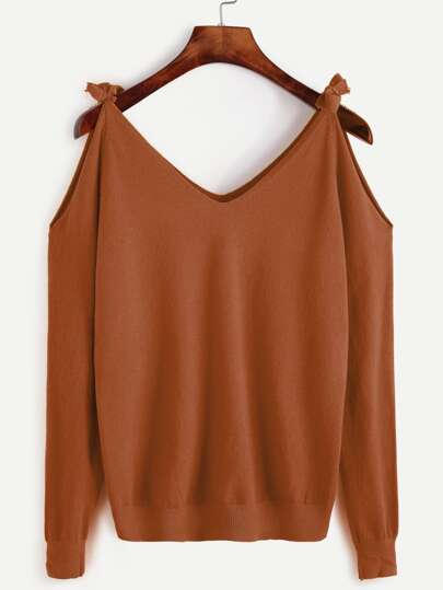 Self Tie Open Shoulder Sweater