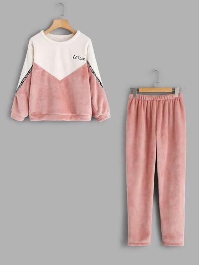 Conjunto de pijama en color block