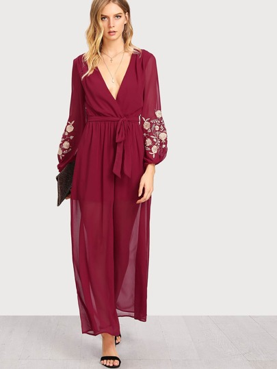 Embroidered Lantern Sleeve Wrap Palazzo Jumpsuit