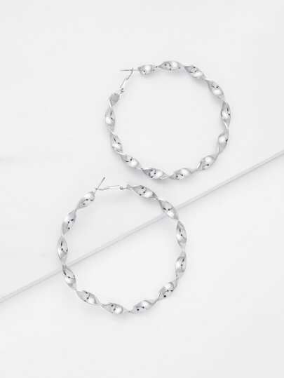 Wave Design Hoop Earrings