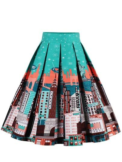 Botanical Print Box Pleated Skirt