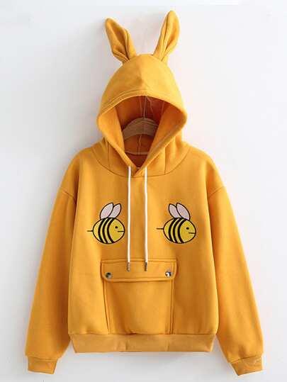 Sudadera con capucha con oreja bordada de abeja