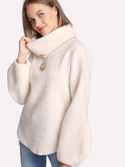 Balloon Sleeve Plush Pullover