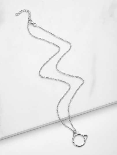Hollow Cat Pendant Link Necklace