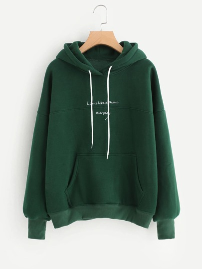 Contrast Slogan Embroidery Hoodie