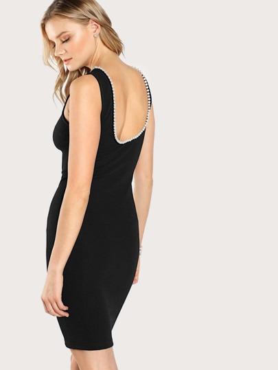Pearl Beading Neckline Scoop Back Bodycon Dress