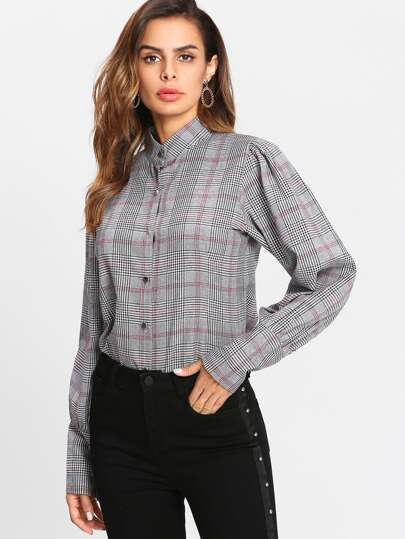 Glen Plaid Puff Sleeve Shirt