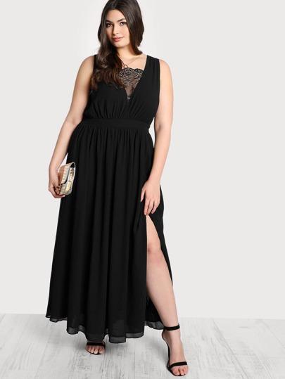 Front Lace Cutout Dress BLACK