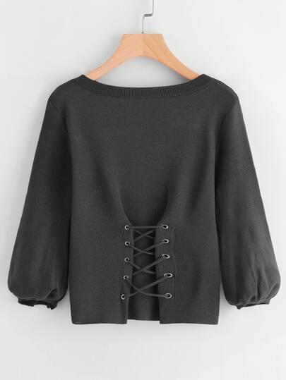 Corset Lace Up Lantern Sleeve Sweater
