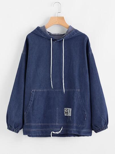 Drawstring Hood Kangaroo Pocket Denim Sweatshirt