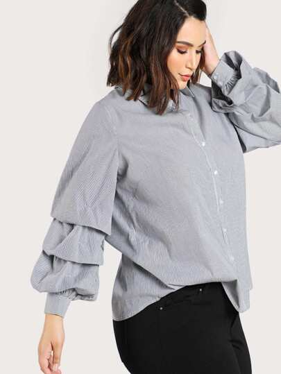 Ruched Sleeve Striped Button Up Blouse