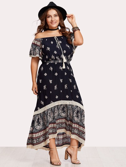 Tassel Tie Front Lace Detail Calico Bardot Dress