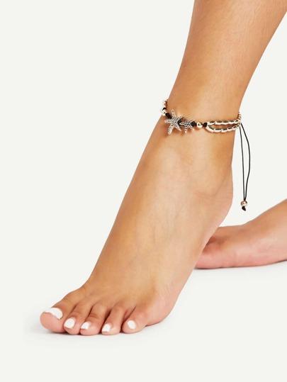 Bracelet de cheville réglable détail de l\'étoile de mer