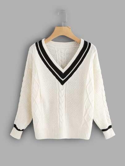 Pull tricoté avec V col