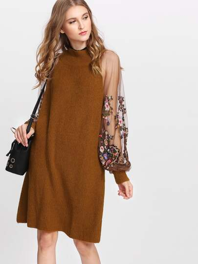Embroidered Mesh Sleeve Knit Dress