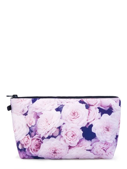 Flower Print Zipper Makeup Bag