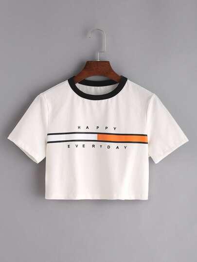 Contrast Neck Graphic Print Crop T-shirt