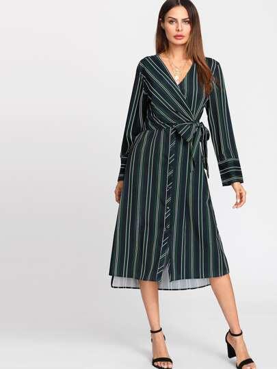 Surplice V Neck Self Tie Striped Dress