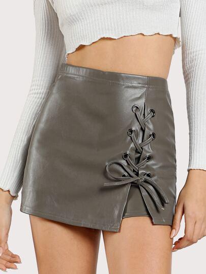 PU Leather Side Lace Up Skort GREY